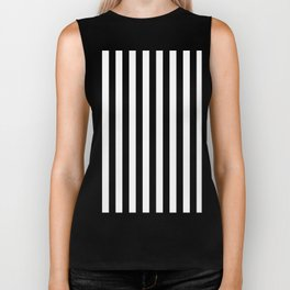 Narrow Vertical Stripes - White and Black Biker Tank