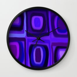 Violets in Blue Windows Wall Clock