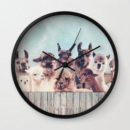 NEVER STOP EXPLORING - HAPPY FAMILY - ALPACA & LLAMA Wall Clock