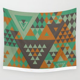 triangles-green-brown-orange-KNIT Wall Tapestry