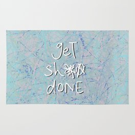 get sh** done - blue scribbles Rug
