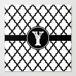 Black Monogram: Letter Y Canvas Print
