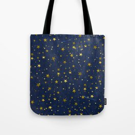 Golden Stars on Blue Background Tote Bag