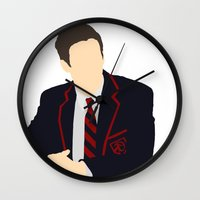 glee Wall Clocks featuring Sebastian Smythe - Grant Gustin - Glee - Minimalist design by Hrern1313