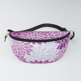 Dahlia Flowers, Petals, Blossoms - Blue Purple Fanny Pack