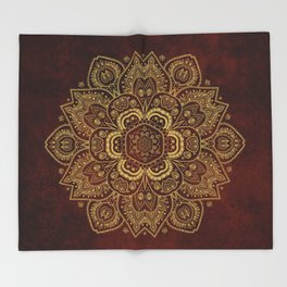 Gold Flower Mandala on Red Textured Background Throw Blanket