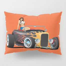 Custom Hot Rod Roadster Car with Flames and Sexy Woman Pillow Sham