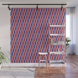 Red and Blue Wispy Stripes Wall Mural