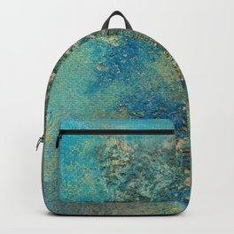 Blue And Gold Modern Abstract Art Painting Backpack