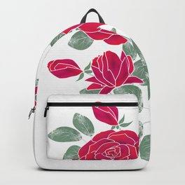 Red roses. Backpack