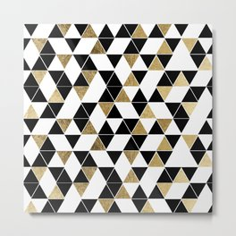 Modern Black, White, and Faux Gold Triangles Metal Print