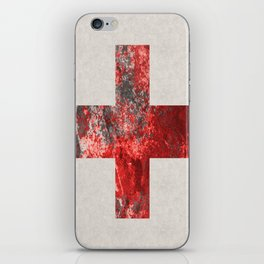 Medic - Abstract Medical Cross In Red And Black iPhone Skin