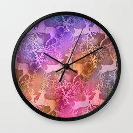 Reindeer & Snowflakes 1 Wall Clock