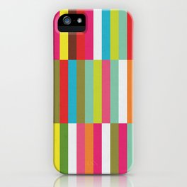 Bright Colorful Stripes Pattern - Pink, Green, Summer Spring Abstract Design by iPhone Case