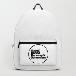 Satie, Bach, Debussy, Schumann, Classical Music Composers, white bg Backpack