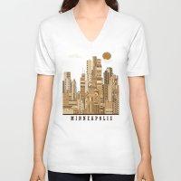 minneapolis V-neck T-shirts featuring Minneapolis skyline by bri.buckley