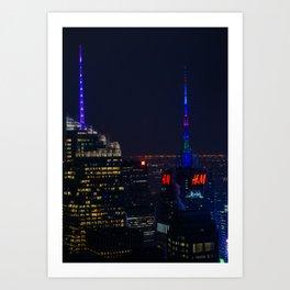 NYC Colored Lights Art Print