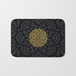 """Black & Gold Arabesque Mandala"" Bath Mat"