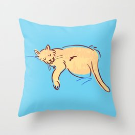 Sleepy Cat Position Throw Pillow