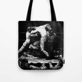 A Stag At Sharkey's - Black and White Lithograph Tote Bag