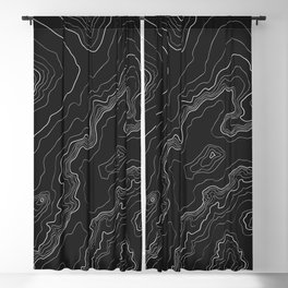 Black & White Topography map Blackout Curtain