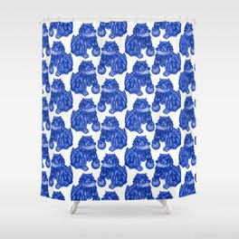 Chinese Guardian Lion Statues in Pottery Blue + White Shower Curtain