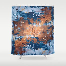 Copper and Denim Abstract Shower Curtain