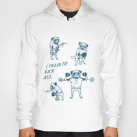 workout Hoodies featuring Pug Workout by Huebucket