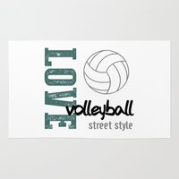 volleyball Area & Throw Rugs featuring Love Volleyball Street Style by raineon