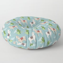 Cute Llamas Illustration Floor Pillow