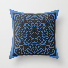 Courage of her Conviction Mandala - Blue Black Throw Pillow