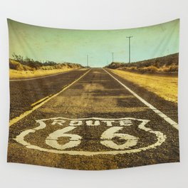 Route 66 Road Marker Wall Tapestry
