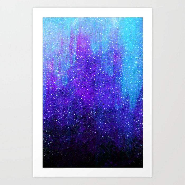 Space Ice Starfield Blue and Purple Art Print