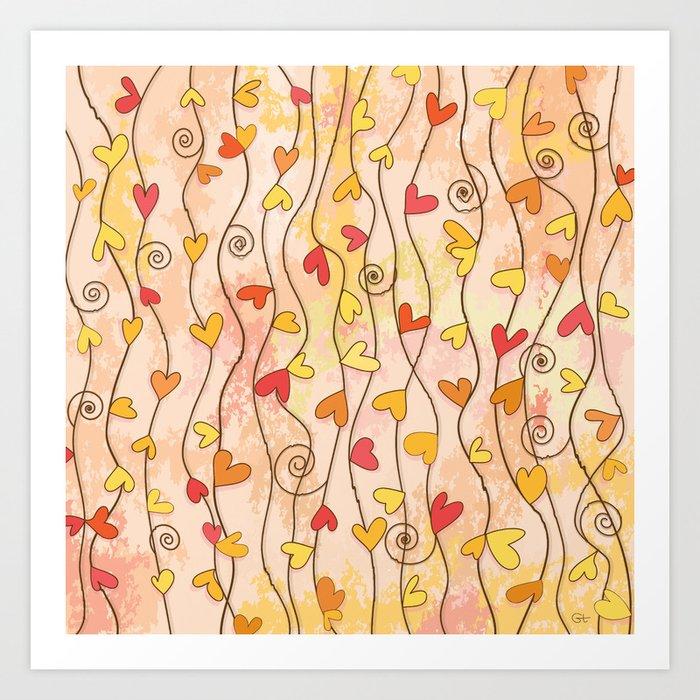 Heart and Spiral Botanic Pattern III - Fall Love Art Print