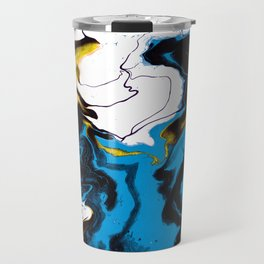 Dreamscape 01 in Blue, White & Gold Travel Mug