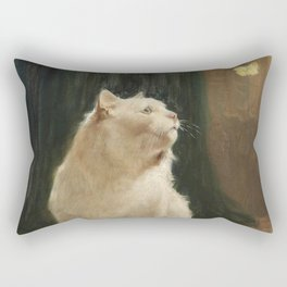 White Cat and Butterflies Rectangular Pillow