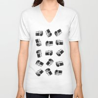 cameras V-neck T-shirts featuring little cameras by Alice Dol