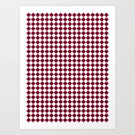 White and Burgundy Red Diamonds Art Print