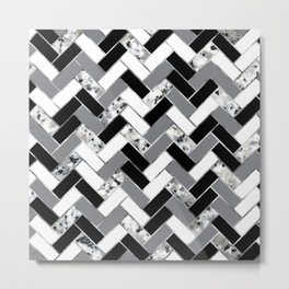 Shuffled Marble Herringbone - Black/White/Gray/Silver Metal Print