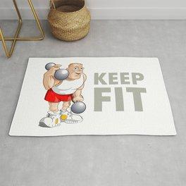 "Funny Bodybuilder said: ""Keep Fit!"". Vector Illustration Rug"
