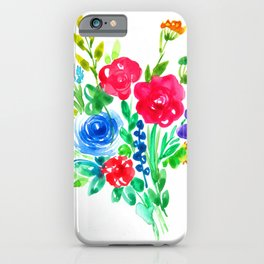 Watercolor summer bouquet with blue rose iPhone Case