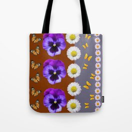 BROWN & PURPLE PANSY WHITE DAISY BUTTERFLIES SPRING Tote Bag