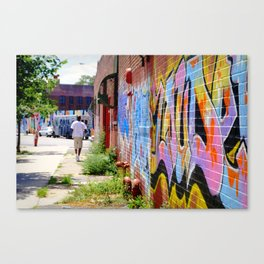 Walking By, Greenpoint Graffiti Canvas Print
