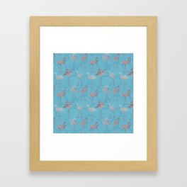 Walk with pink flamingos on bright blue Framed Art Print