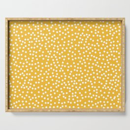 Mustard Yellow and White Polka Dot Pattern Serving Tray