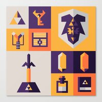 legend of zelda Canvas Prints featuring Legend of Zelda Items by Ann Van Haeken