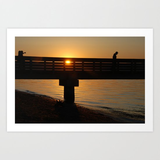 Dock at sunset Art Print