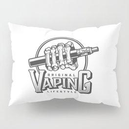 Vintage Vaping Logotypes With Letterings Hand Holding Vape Illustration Pillow Sham