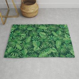 Tropical Floral Botanical Jungle Leaf Plants Nature Pattern Rug