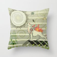 A wolf on fire Amaterasu Throw Pillow